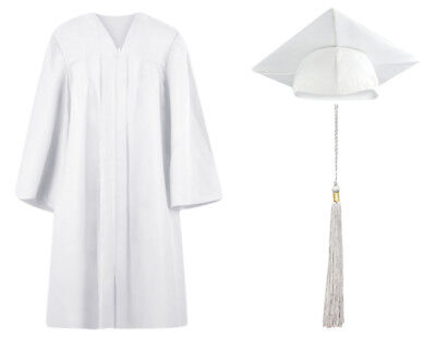 White Matte Graduation Cap Gown and Tassel - 13 sizes - White Cap And Gown