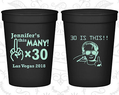 Personalized 30th Birthday Cups Custom Cup (20000) Middle Finger, I Am This Many](30th Birthday Cups)