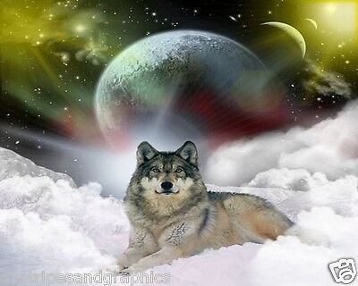 Wolf in Clouds RV Trailer or Wall Mural Decal Decals Graphics Sticker Art