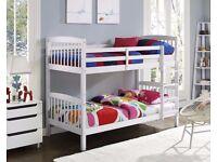 BRAND NEW SINGLE WHITE WOODEN BUNK BED-CONVERTIBLE BED & MATTRESS RANGE