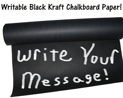 8' x 2' -Chalkboard Black Kraft Paper Roll, #50lb Writeable Table-Cloth Paper (Black Paper Tablecloth Roll)
