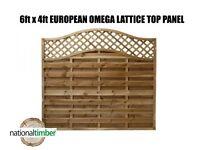 (Pack of 5) 6ft x 4ft (1.8m x 1.2m) Omega Lattice Top European Panels 6 x 4