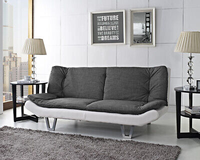 Fabric Sofa bed 3 Seater Charcoal Fabric & White Faux Leather Base