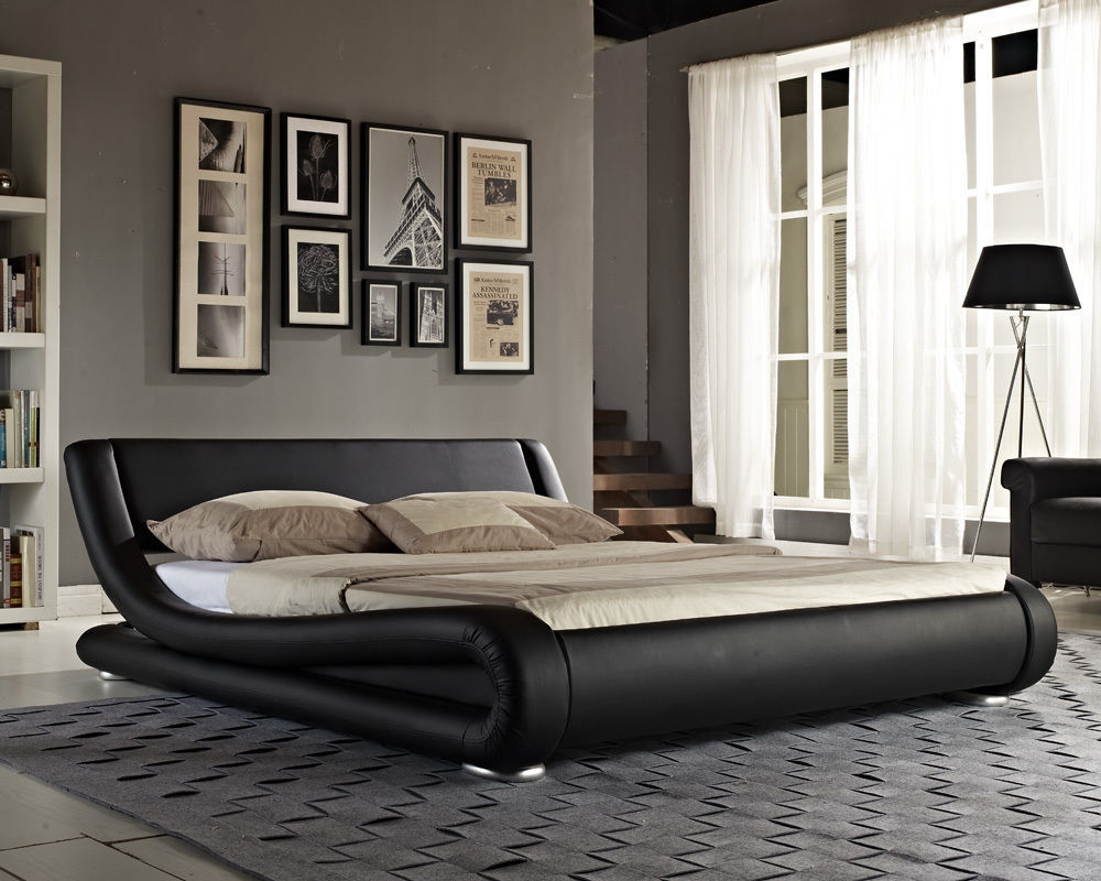 Expensive Bed Rrp 850 King Size Black Faux Leather Bed With Expensive Ortho