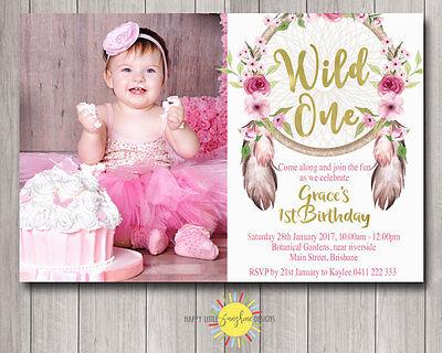 Custom Printable Girls Birthday Photo Invitation Floral Dreamcatchers Wild One - One Photo Invitation