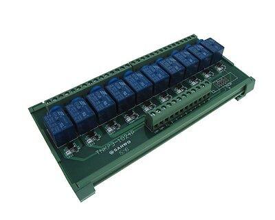 10 Channel 12vdc Relay Board Plc Din Rail Mounting - Npn