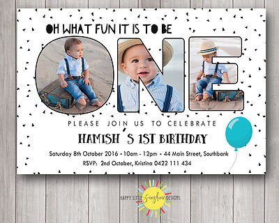 Custom Printable Boys Birthday Invitation 1st Birthday Photo Letters B&W - 1st Birthday Custom Invitations