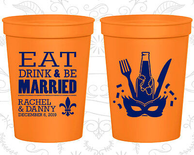 Personalized Wedding Gift Cups Custom Cup (420) Mardi Gras Wedding - Mardi Gras Cups Personalized
