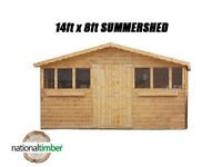 14FT x 8FT SUMMER HOUSE WITH 1FT OVERHANG/GARDEN SHED! TOP QUALITY TIMBER