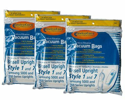 9 Bissell 840, 30861, 32120 Upright Style 1 and 7 micro filtration Vacuum Bags 7 Micro Vacuum Bag