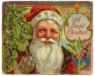 Christmas Vintage Santa - VINTAGE ADVERTISING ENAMEL METAL TIN SIGN WALL PLAQUE