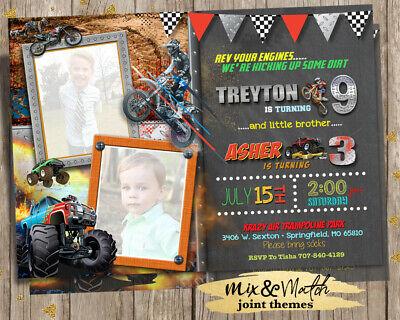 Monster Truck Joint Birthday Invitations - Dirt Bike Motocross Joint Invitation
