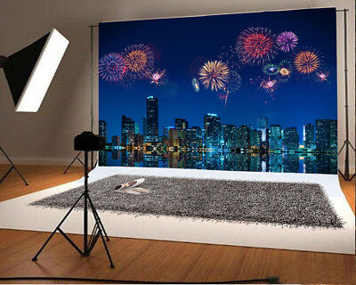 5x3ft Vinyl Studio Photography Backdrop City Fireworks Night Scene Background - City Scene Backdrop