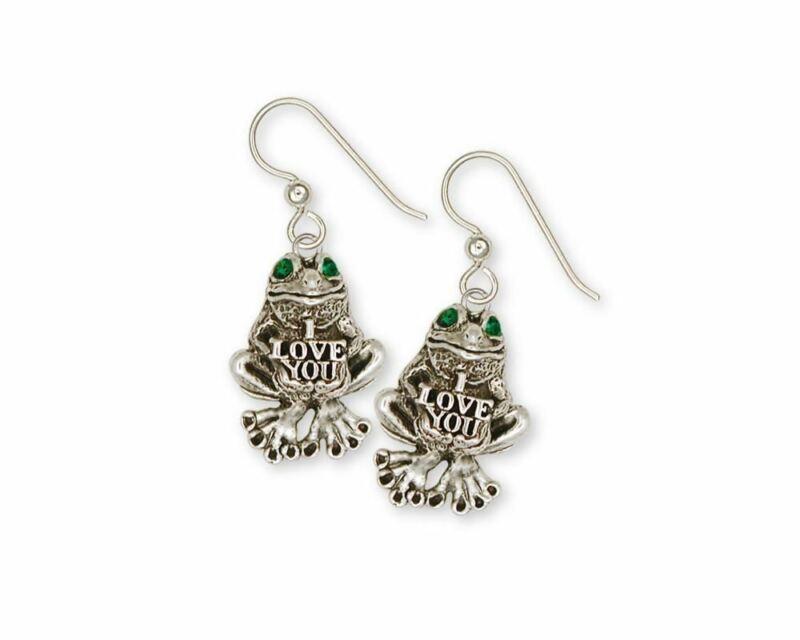 Frog Earrings Jewelry Sterling Silver Handmade Frog Earrings FG13-XE