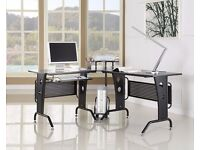 Corner Computer Desk Black Wood Home Office Furniture L Shaped New Modern Design