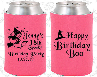 Custom 18th Birthday Party Favors Koozies (20081) Halloween Birthday, Supplies - 18th Birthday Favors