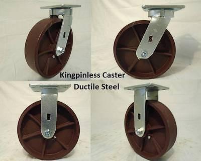 8 X 2 Swivel Casters Kingpinless Ductile Steel Wheel 2 Rigid 2 2000lb Each