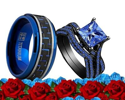 His Titanium Blue and Her Blue Cz Black Gold Bridal Engagement Wedding Ring set - Blue And Gold Wedding
