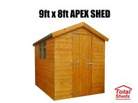 9FT X 8FT APEX OR PENT SHED NEW
