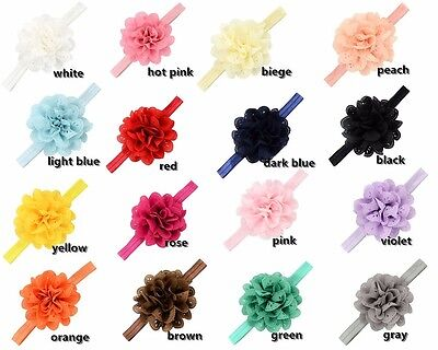 16Pcs/lot Baby Girls Flower Headbands hollow Elastic Bow Kids Hair Accessories