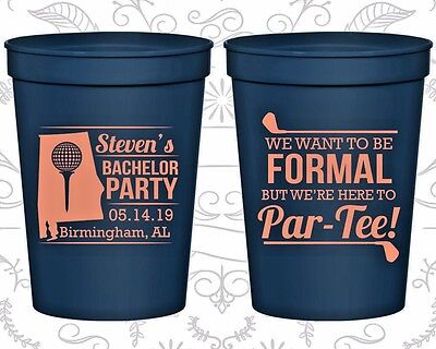 Bachelor Party Plastic Cups Cup Favors (40043) Golf, We Are Here To Partee