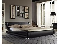 4ft6 double Modern black faux leather curved bed frame with gold ortho mattress. Free delivery