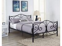 """4ft 6"""" BLACK METAL BED FRAME WITH CRYSTAL FINIALS - NEVER BEEN ASSEMBLED"""