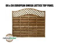 (Pack of 5) 6ft x 5ft Omega Lattice Top European Panels 6 x 5
