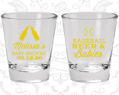 Baby Shower Shot Glasses Glass Decorations (90149) Baseball, Beers, - Baseball Baby Shower Decorations