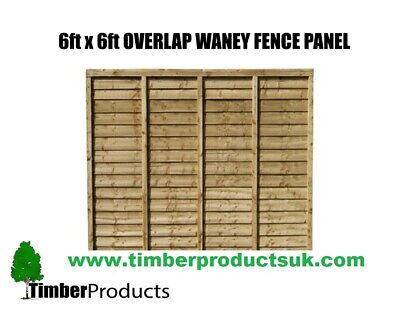 **PACK OF 5** 6ft x 6ft Waney lap fence panel Special Offer 6x6 lap
