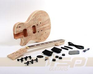 Left Handed Solid Body DIY Electric Guitar Kit Mahogany Spalted Maple Veneer
