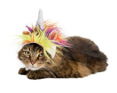 PET KREWE Plush Faux Fur Rainbow Unicorn Horn Hat Costume for Cats or Small Dogs