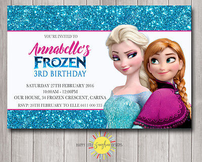 Custom Printable Frozen Birthday Invitation Blue Glitter Any Age Elsa - Frozen Custom Invitations