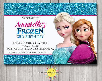 Custom Printable Frozen Birthday Invitation Blue Glitter Any Age Elsa - Frozen Custom Invitations