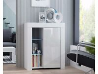 Modern Cabinet Cupboard Sideboard White Matt Body and White High Gloss Fronts RGB LED Lights