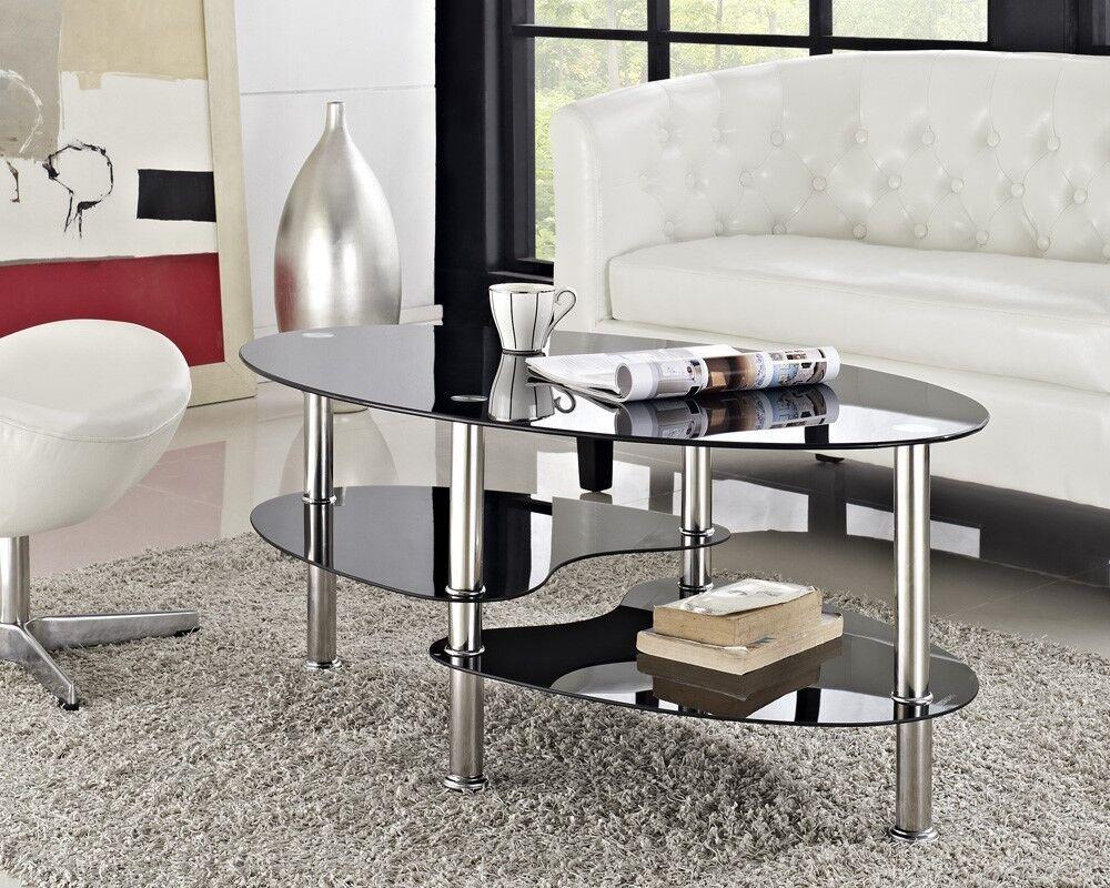 Glass Living Room Table Set: Modern Black Glass & Chrome Oval Living Room Coffee Table