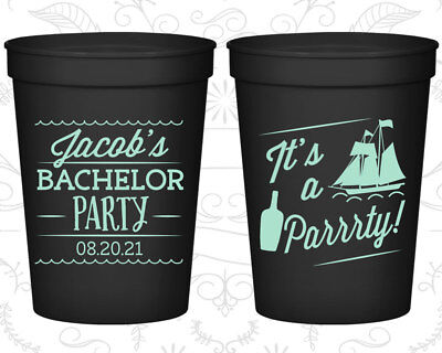 Bachelor Party Plastic Cups Cup Favors (40023) Nautical, Party Like A Pirate - Plastic Pirate Cups