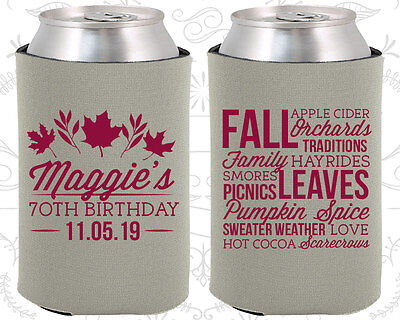 Personalized 70th Birthday Party Ideas Coozies (20228) Fall Birthday, Items](70 Birthday Ideas)