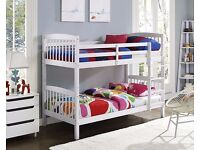 NEW **GERMAN WOOD** WHITE WOODEN BUNK BED FRAME AND MATTRESS SINGLE BOTTOM SINGLE TOP WOODEN BED