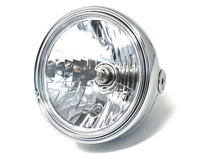 MOTORBIKE HEADLIGHT 12V 55W CHROME STEEL 8 INCH RETRO CLASSIC OLD SCH