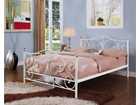 Double White Metal Bed Frame With Crystal Finials
