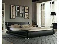 Double black faux leather bed