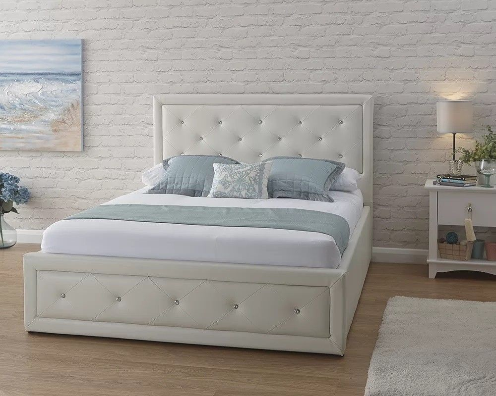 dd555d432cd5 UPTO 50% OFF HOLLYWOOD CRYSTAL DOUBLE / KINGSIZE OTTOMAN LEATHER STORAGE BED  FRAME WHITE / BLACK | in Ealing, London | Gumtree