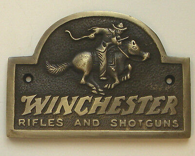WINCHESTER RIDER SOLID BRASS PLAQUE WITH ANTIQUE FINISH