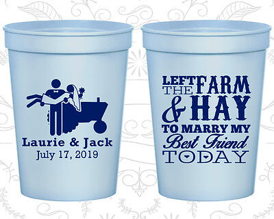 Personalized Plastic Party Cups Custom Cup (347) Tractor Wedding Favors - Tractor Favors