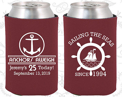 Nautical Birthday Party Ideas (Personalized 25th Birthday Party Ideas Coozies (20168) Anchor Birthday,)