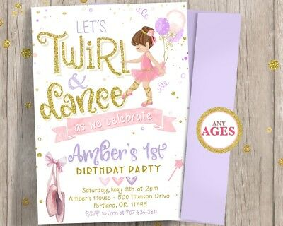 Ballerina 1st First Birthday Invitation - Girl Twirl and Dance Tutu Invitations - First Birthday Invitations Girl