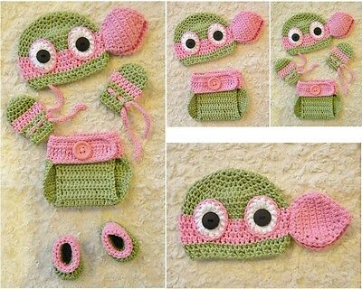 Crochet TMNT Inspired PINK GIRLS Ninja Turtle baby Outfit/Costume NB to 3-6 m - Ninja Girl Outfits
