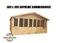 18FT x 10FT SUMMER HOUSE SUPREME LOG CABIN OFFICE BAR SHED HIGH QUALITY TIMBER