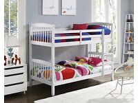 Brand New - Bunk Bed Single 3FT Wooden Frame White Wood With Mattress Option Split in 2 Single Beds